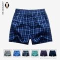 Mens underwear boxers shorts calzoncillos de alta calidad de marcas de la tela escocesa del sueño del algodón ocasional flojo homewear cómodo bragas de rayas