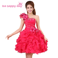 Prinses womens geel roze corset avondjurken korte tulle bal jurken een schouder collectie meisje mode pageant jurk W2141