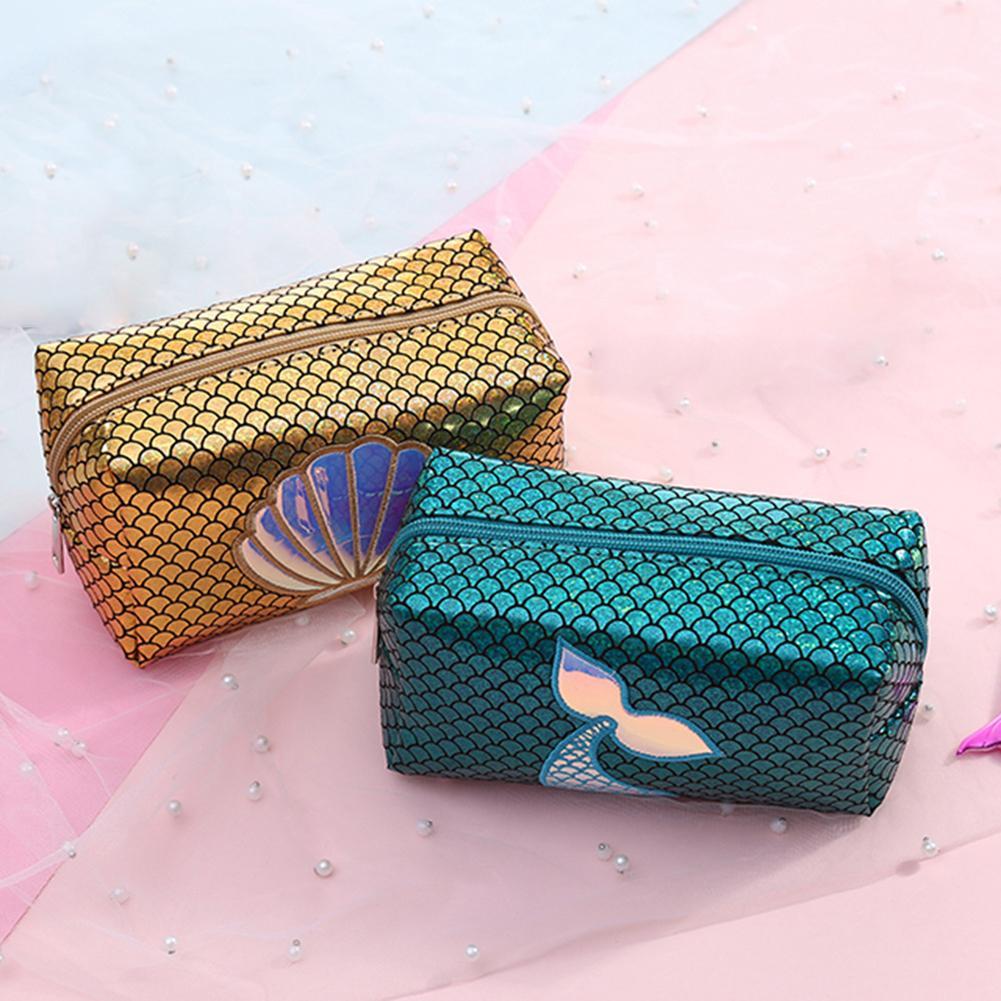 Mermaid Tail Seashell Zipper Women Makeup Organizer Bag Pencil Pen Cases