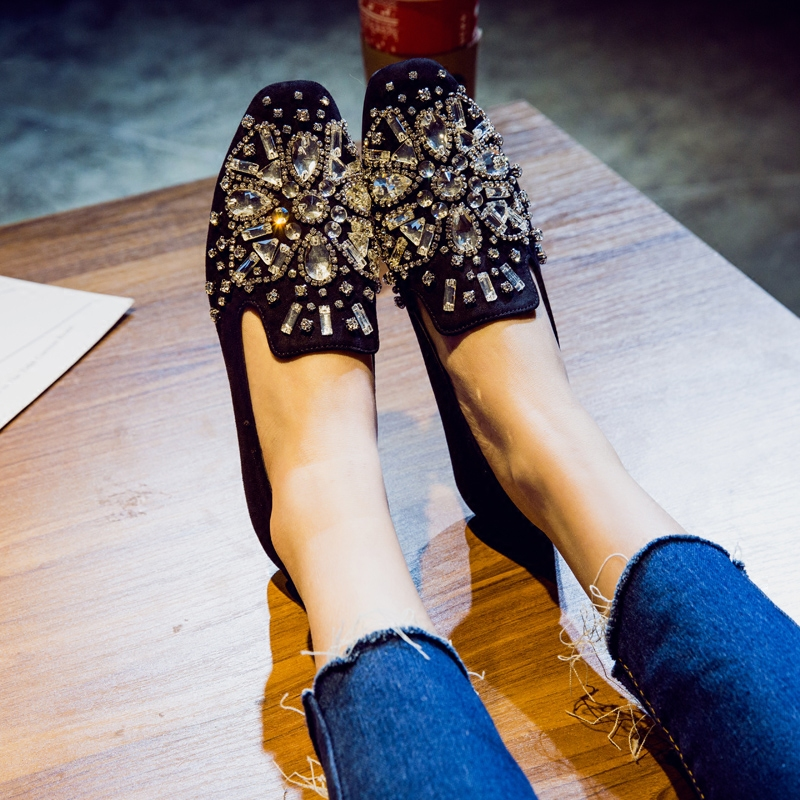 Star Style Luxury Crystal Flats Casual Shoes Women Loafers Top Soft Single Shoes Lazy Shoes Flat Heel Comfortable Rhinestone gzgmet spring ring for audio video cctv camera bnc female jack coupler wire connector