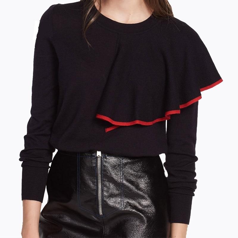 Runway Designer Wool Sweater Women 2017 Winter Jumper Long Sleeve Single Shoulder Ruffles Novelty Knit Pullover Knitwear 1206-67