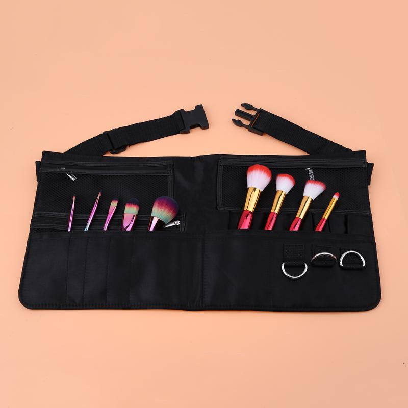 Pocket Makeup Brush Apron Bags Artist Belt Strap Holder Women Cosmetic Leather Bag Organizer Black Mesh Zipper Case 100cm creative slim diy mesh bag for cosmetic makeup brush 12290