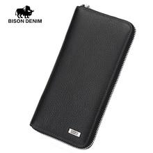 BISON DENIM 2016 Brand Designer Top Cowhide Leather Men's Long Wallet Clutch Wrist bag black wallets and purses card holder