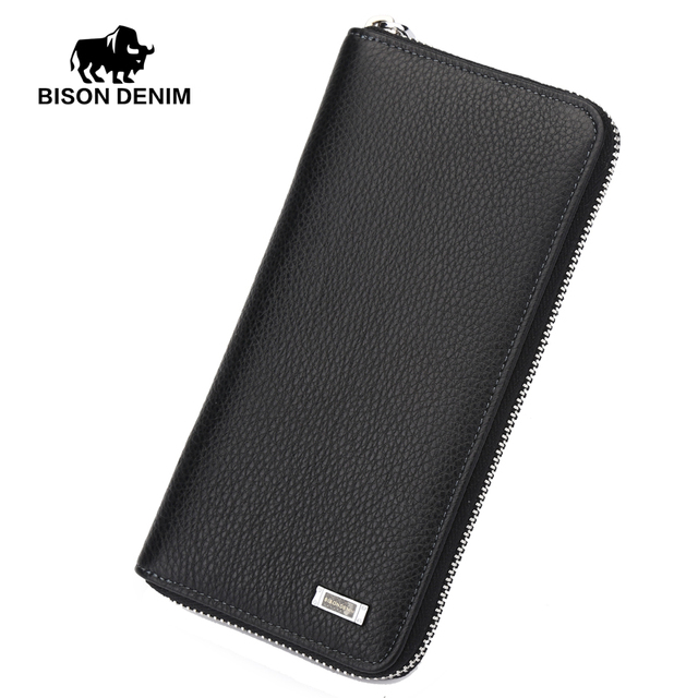 BISON DENIM 2016 Brand Designer Top Cowhide Leather Men's Long Wallet Clutch Wrist bag black wallets and purses card holder