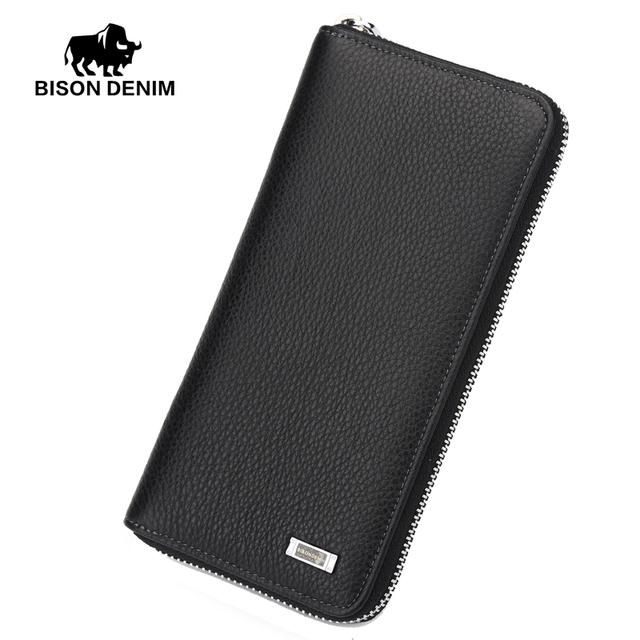 BISON DENIM 2016 Diseñador de la Marca Top de cuero de Vaca Hombres del Cuero Carpeta Larga Del Embrague de la Muñeca bolsa de carteras y monederos tarjeta de negro titular