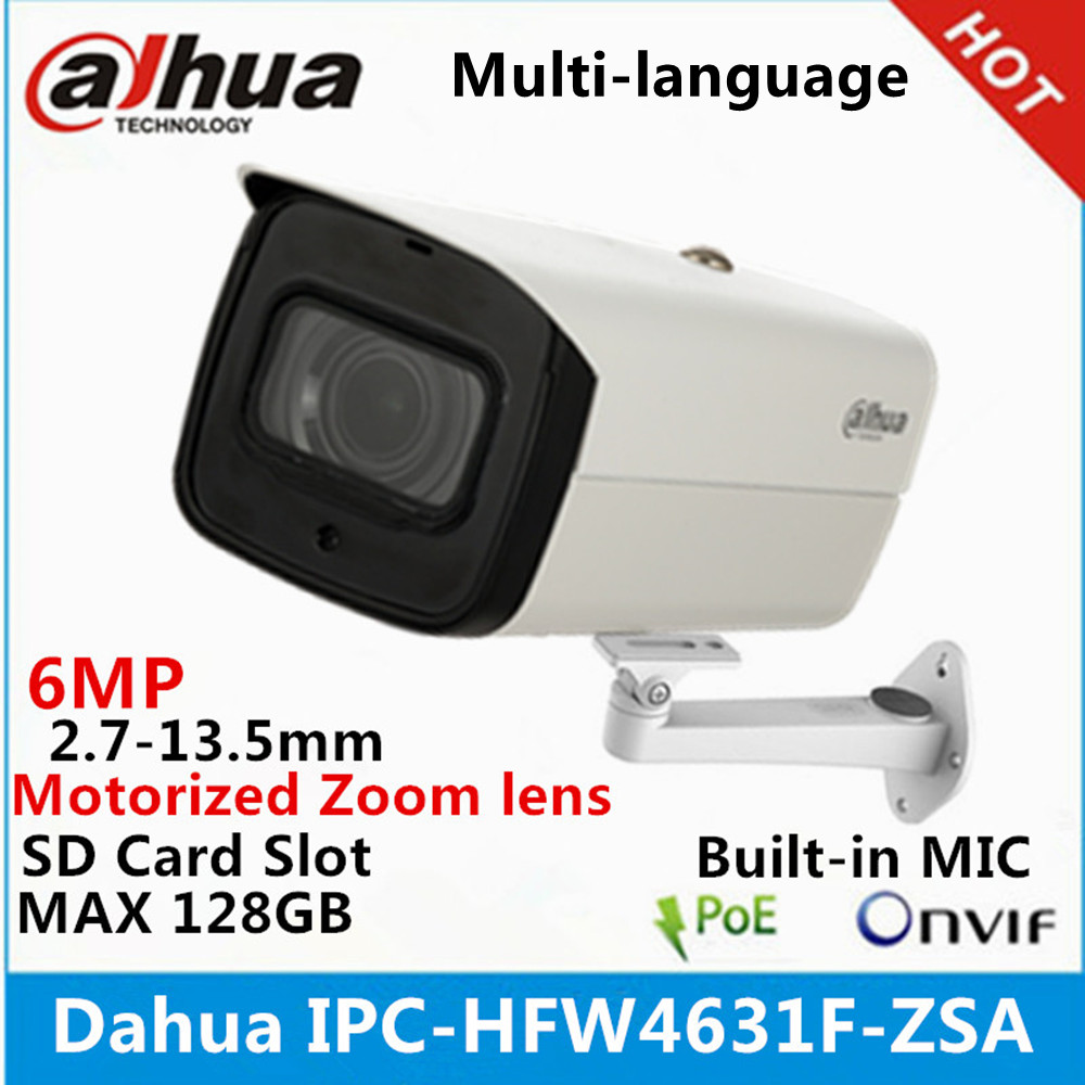 Dahua IPC-HFW4631F-ZSA 6Mp IP camera 2.7-13.5mm varifocal motorized lens built-in SD card slot and MIC IR 80Meter gun Camera belt