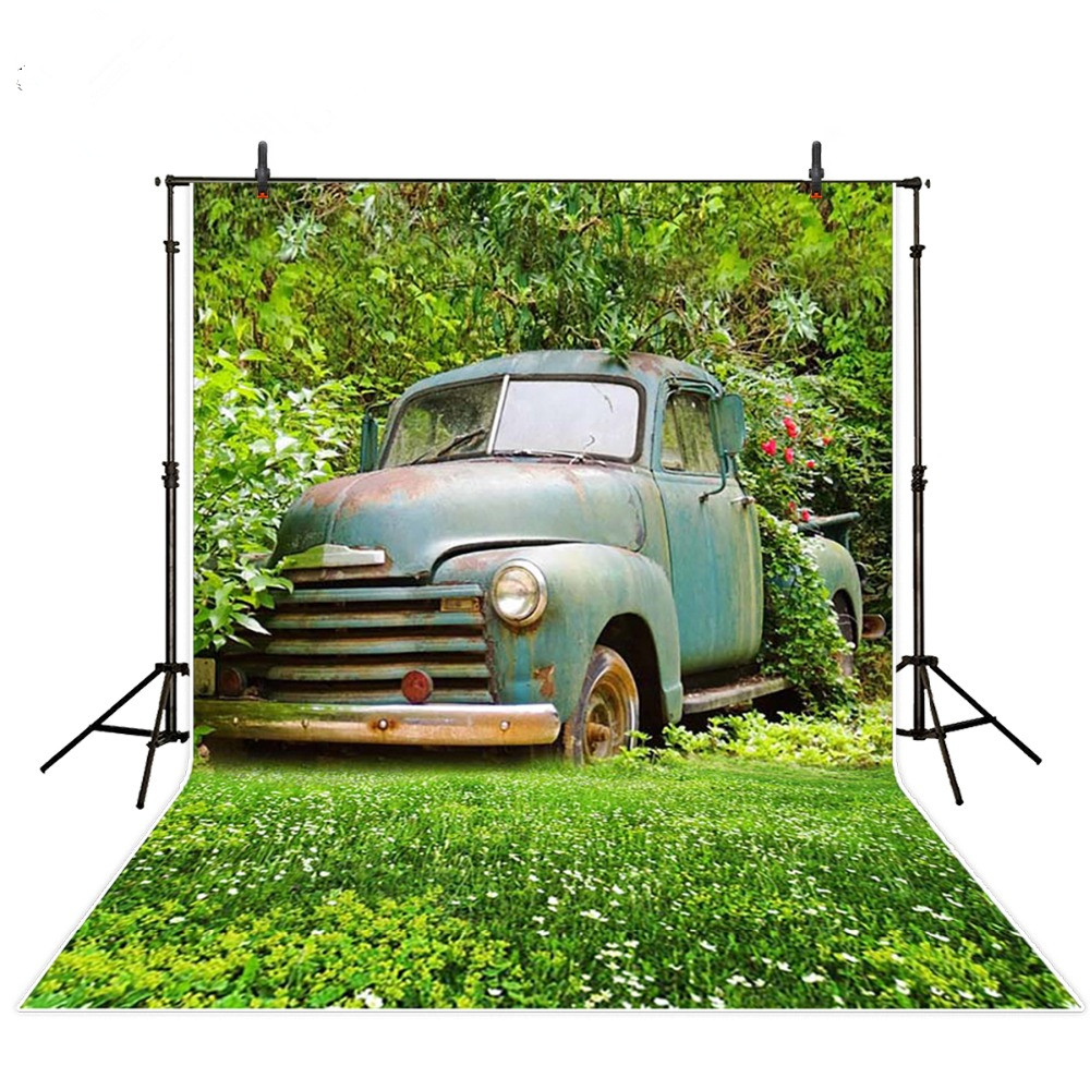 Photography Backdrops Vinyl 5 7ft Blue Bubble Car Green Natural View Photo Background Studio For Kids Photos Fotografia