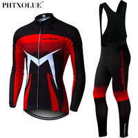 Phtxolue Men Winter Thermal Cycling Clothing 2018 Red Blue Green Long Sleeve Cycling Jersey Set Mtb