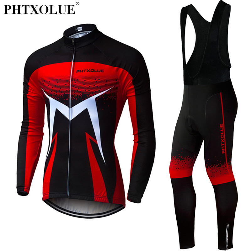 Phtxolue Men Winter Thermal Cycling Clothing 2018 Red Blue Green Long Sleeve Cycling Jersey Set Mtb Bike Bicycle Wear 2016 high quality alpha n 3b mens shark softshell jacket tad outdoor male warm waterproof man fleece jackets outerwear
