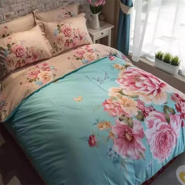 3D Watercolor Painting Blooming Flowers Rose Bedding Set Queen Size 100%  Cotton Fabric Bed Sheets