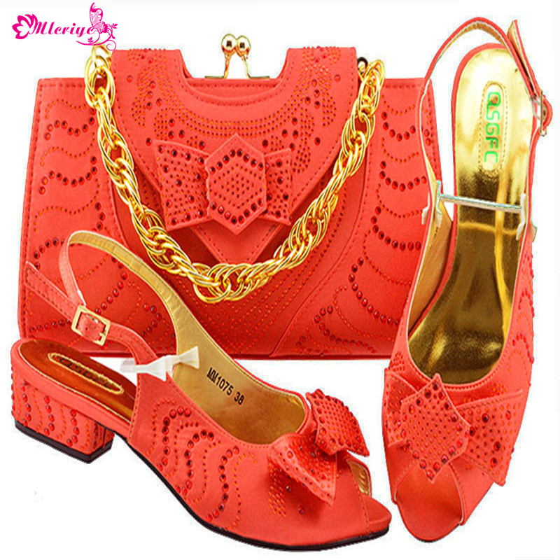 MM1075-CORAL Newest African Style shoes and bag sets Italian shoe with matching bag TOP selling shoes and bags to match doershow shoe and bag to match italian african shoe and bag sets women shoe and bag to match for parties african shoe htx1 18