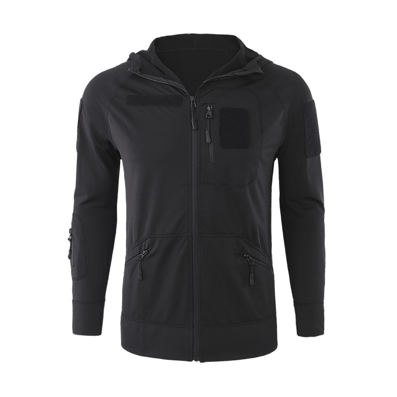Elastic Fleece Cardigan Hooded Jacket Men Outdoor Sports Hiking Mountaineering High Stretch Thin Black Tactical Hoodie Coat Tops