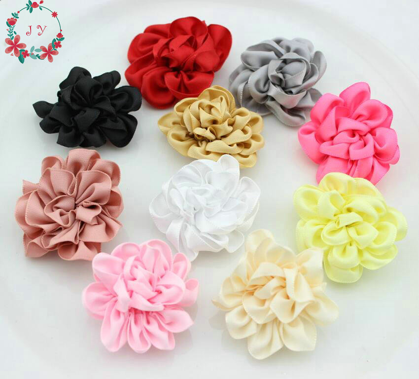 50pcs/lot Hand Sewing cabbage Ribbon rosette puff flowers,fabric appliques 1.7inch satin flower, Clutch pin, stick pin supplies
