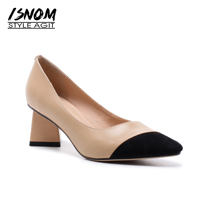 ISNOM Cow Leather High Heels Women Pumps Spring Fashion Ladies Office Shoes Stitching Strange Style Square Toe Shallow Footwear ladies comfortable women office shoes sandals square heels spring 2017 real leather round toe solid high heels big size 40 41 42