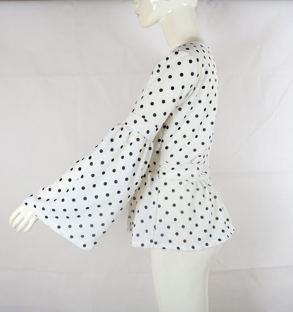 womens tops vintage womens shirts chiffon blouse korean fashion clothing summer streetwear polka dot flare sleeve vintage