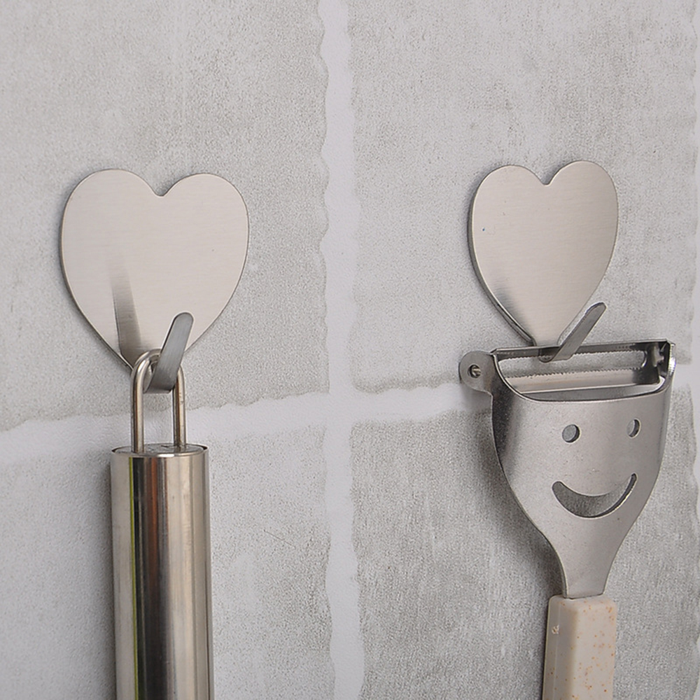 Self Adhesive Hook Stainless Steel Heavy Duty Coat Towel Heart Shape Hook For Bathroom Kitchen Toilet