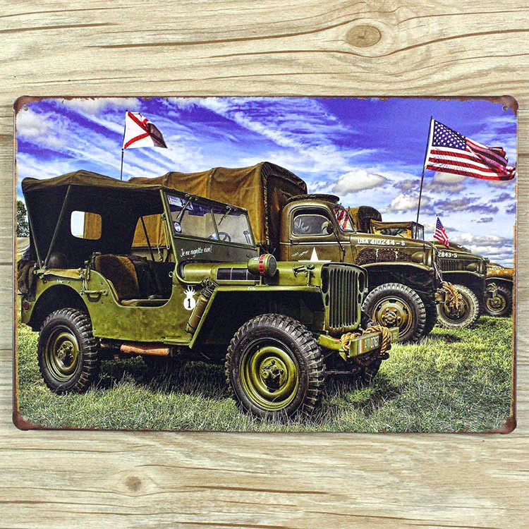 Ro 0502 New Cool Military Vehicle Metal Vintage Tin Signs Painting Home Decor