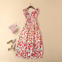 European and American women's fashion 2019 spring new style Strawberry printing 3 d flower Condole belt Fashionable dress