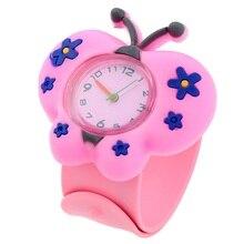 Gnova платины Животные мультфильмы Бабочка силикона, на Смотреть Дети наручные часы маленький для девочек и мальчиков модные Детский подарок A935