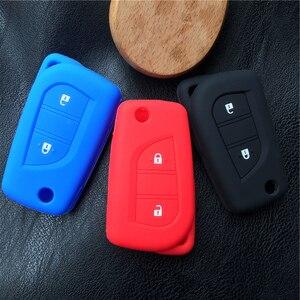 Image 5 - Silicone cover chìa khóa xe trường hợp chủ set túi Cho Peugeot 108 Lật Từ Xa Gấp 3 nút key