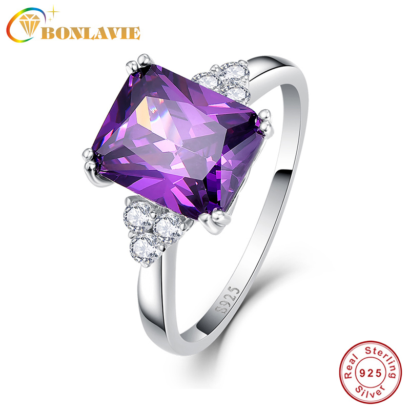 BONLAVI 5 25ct 8 10mm Amethyst Brand Jewelry Ladies 925 Sterling Silver Square Rings High Quality