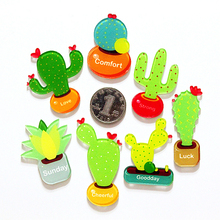 (7 pieces/ lot)Cartoon cute cactus fridge magnet Refrigerator Message posted