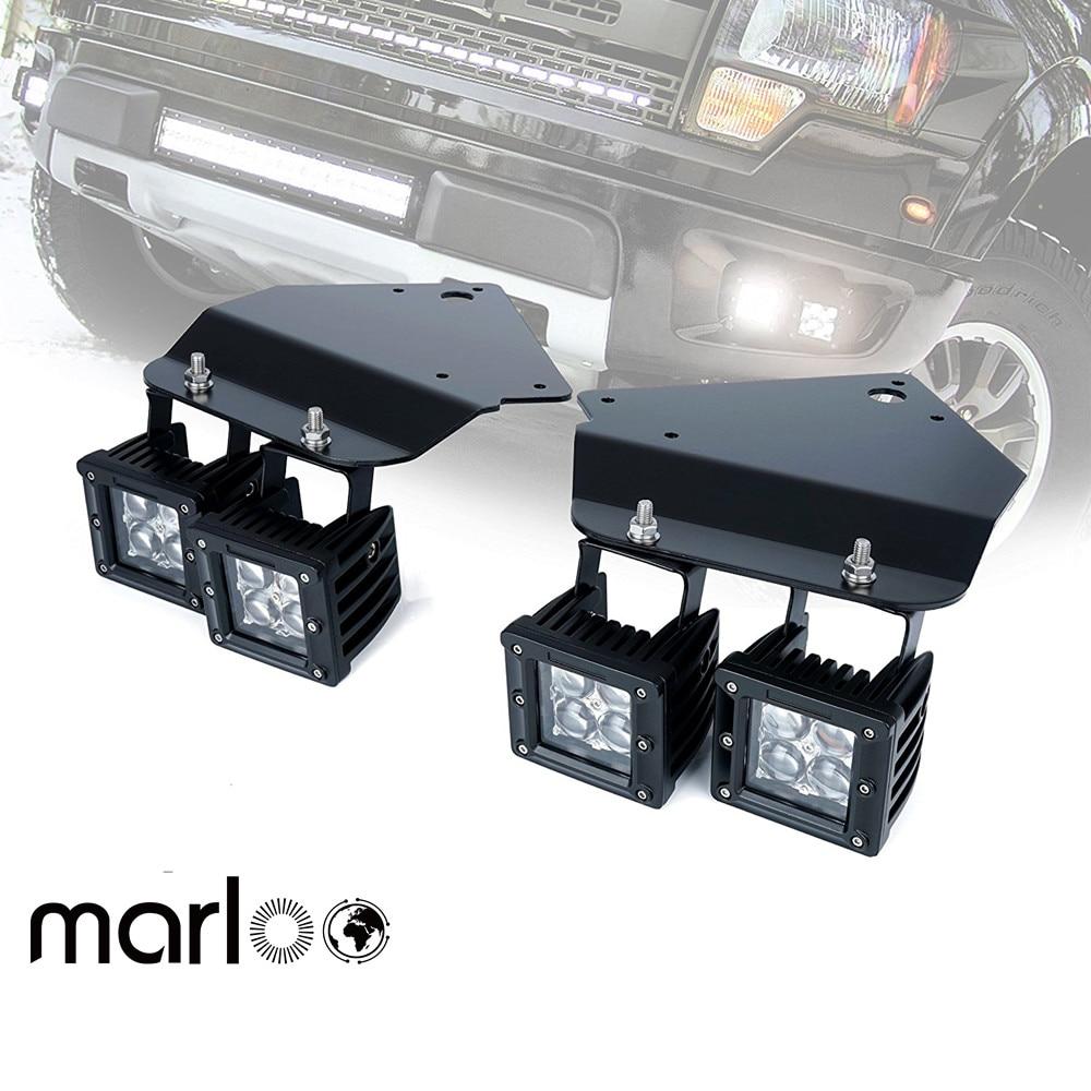 "Marloo For 2010 2011 2012 2013 2014 FORD F150 SVT Raptor 4x 3"" 4D 20W Cube LED Fog Light And For Ford F150 Raptor Hold Bracket"