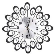 Vintage Metal Art Wall Clock Luxury Diamond Flower Large Wall Watch Living Room Silence Bedroom Morden