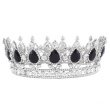 Fashion Fancy Wedding Bridal Crown Silver Color Metal Tiaras Black Water Drop Rhinestone Princess and Queen Crowns HG00041-New