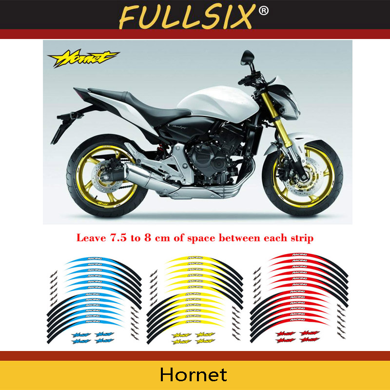 Motorbike Accessories Charitable Motorcycle Front&rear Edge Outer Rim Sticker Wheel Decals Reflective Waterproof 17inch Stickers For Honda Hornet Elegant And Graceful