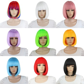 Yiyaobess Synthetic 10inch Straight Short Bob Wigs Bangs Blue Golden Red Black White Purple Pink Green Brown Cosplay Wig Female 1
