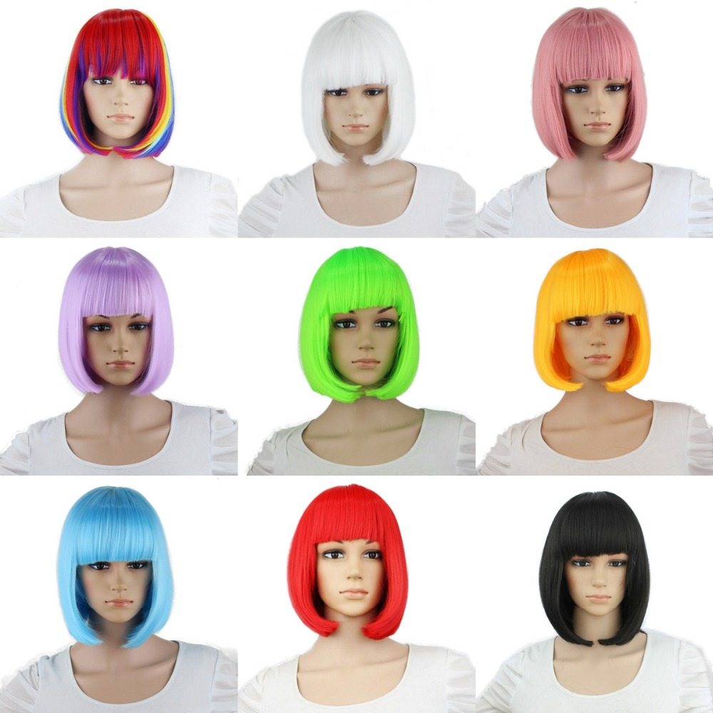 Yiyaobess Synthetic 10inch Straight Short Bob Wigs Bangs Blue Golden Red Black White Purple Pink Green Brown Cosplay Wig Female 网 红 小 姐姐