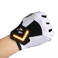 Outdoor Cycling LED Turn Signal Warning Light Half Finger Riding Gloves Automatic Induction Safety Warning MTB Road Bike Gloves