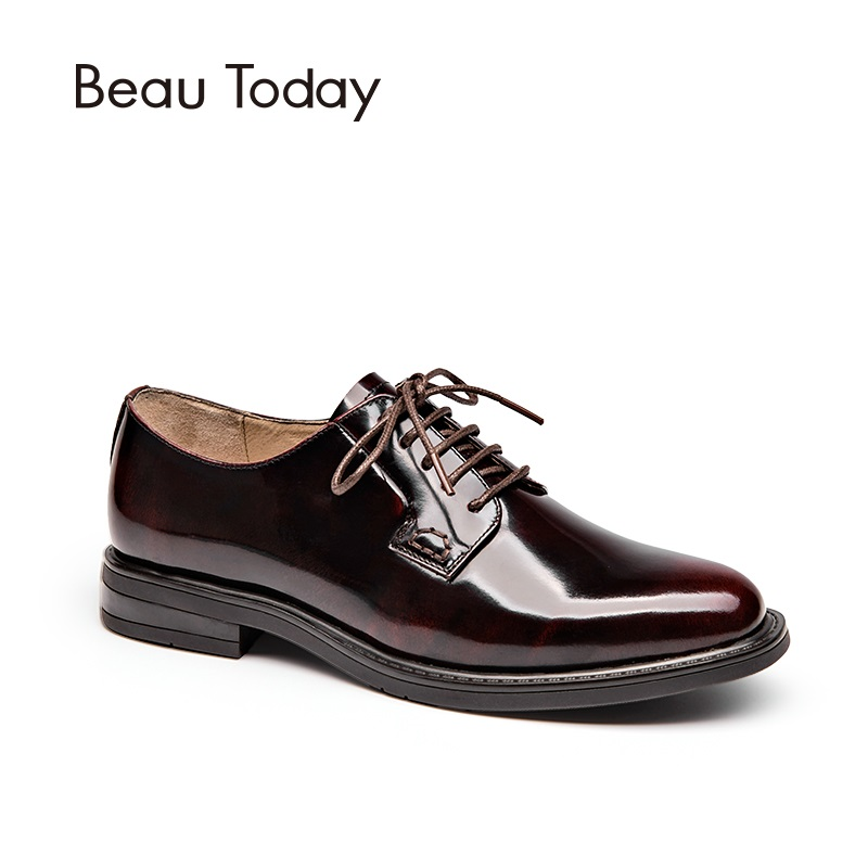 BeauToday Genuine Leather Derby Shoes Women Spring Autumn Oxfords Round Toe Lace-Up Patent Leather Ladies Office Flats 21088 women shoes spring autumn genuine leather flat shoes round toe lace up flats ladies moccasins