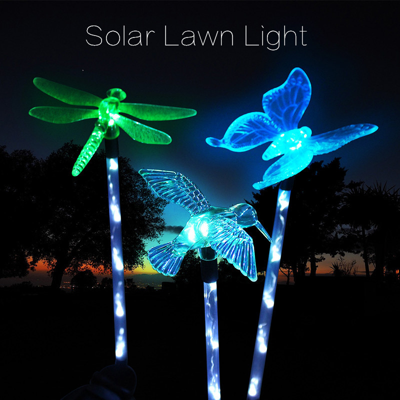 Mising 3Pcs Colorful LED Solar Landscape Path Light Outdoor Butterfly Lawn Lamps Garden Lawn Pathway Landscape Lamp