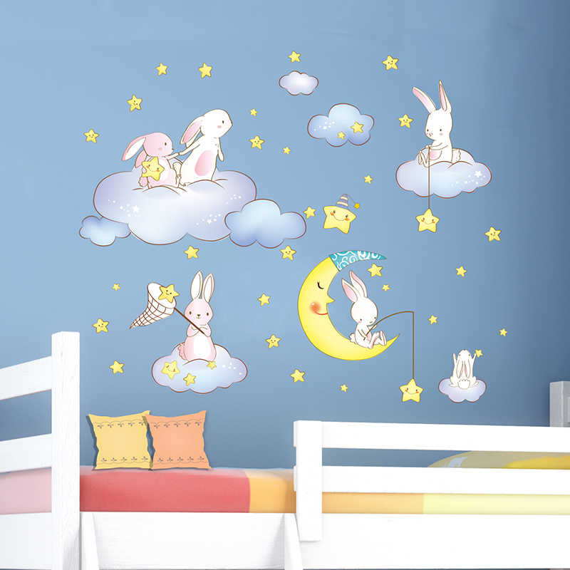 [SHIJUEHEZI] Rabbits Animals Wall Stickers DIY Cartoon Clouds Stars Moon for Kids Room Baby Bedroom Kindergarten Decoration