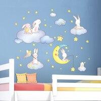 [SHIJUEHEZI] кролики Животные наклейки на стену DIY мультфильм Облака Звезды Луна для детской комнаты детская спальня в детском саду украшения