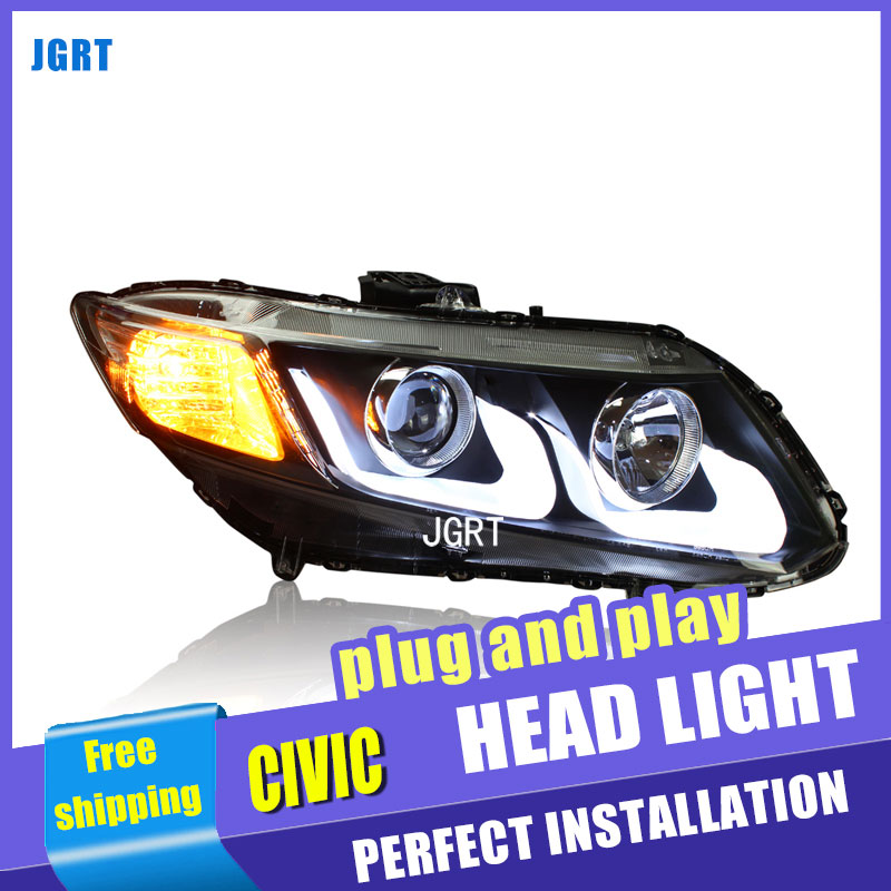 car styling For Honda civic headlight assembly 2012-2015 For civic LED lamp bi xenon lens h7 d2h with hid kit 2pcs hireno car styling headlamp for 2011 15 honda civic headlight assembly led drl angel lens double beam hid xenon 2pcs