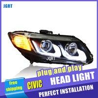 car styling For Honda civic headlight assembly 2012 2015 For civic LED lamp bi xenon lens h7 d2h with hid kit 2pcs