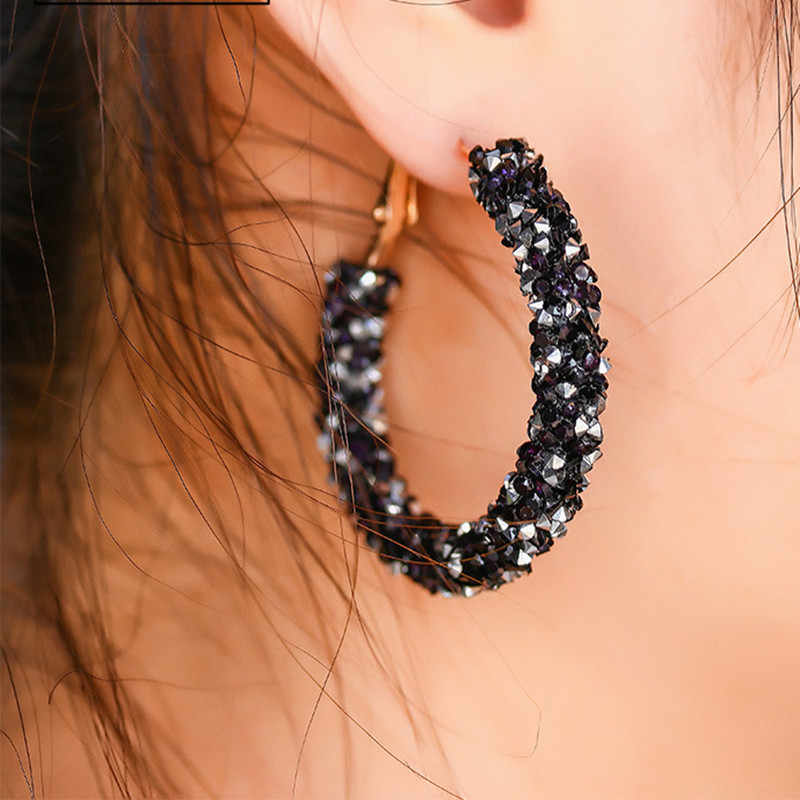 Shiny Crystal Hoop Earrings for Women Big Circle Round Boucle D'oreille Fashion Jewelry Statement Personality Wedding Bijoux