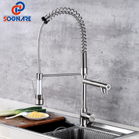 SOGNARE Spring Style Kitchen Faucets Brushed Nickel Faucet Pull Out Torneira All Around Rotate Swivel Cold