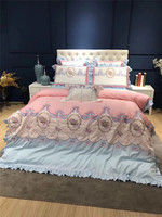 Dream Princess Pink Bedding set Crown Bow Embroidery 80S Egyptian cotton Duvet Cover Bed Linen Bed sheet Pillowcases 4/7pcs