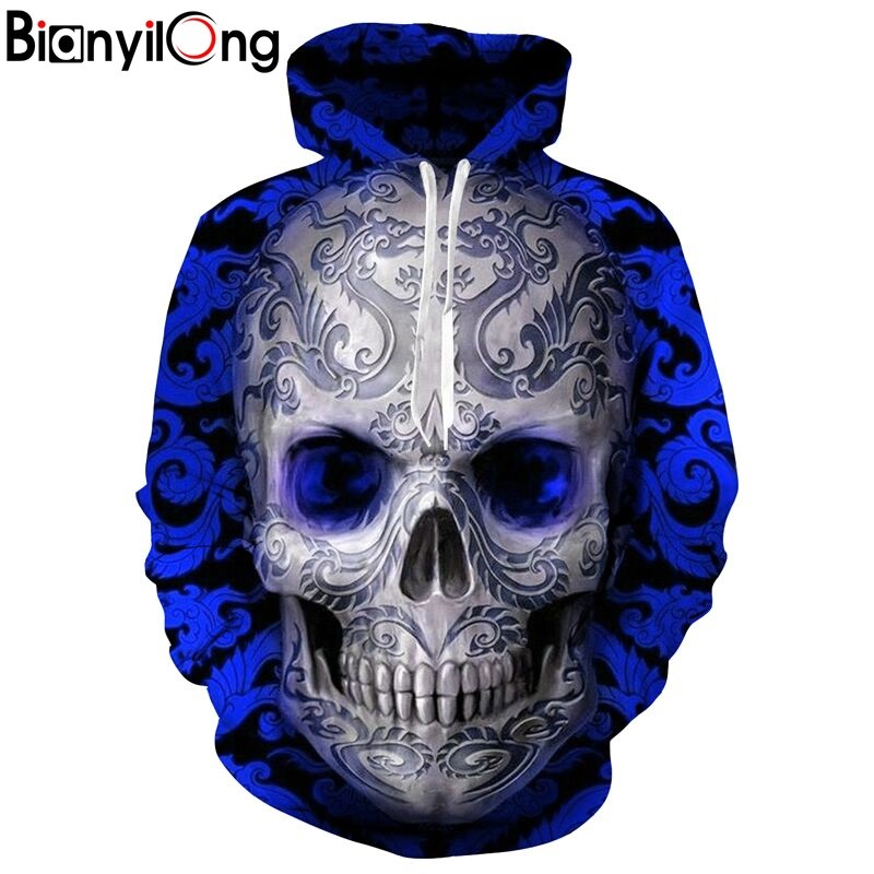 Unisex 3D Print Skull Head Space Hoodies Hooded Men/Women Couple Sweatshirt Streetwear Hooded Jacket Plus size