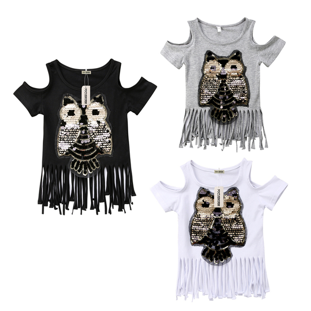Casual Sequins Owl Printed Fashion Casual T-Shirts Toddler Baby Girls Short Sleeve Off Shoulder Tassel Tops 3 Style 1-6Y
