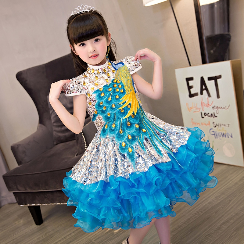 2018 New Summer Children Girls Embroidery Pattern Birthday Holiday Party Ball Gown Layers Dress Kids Model Show Costume Dress 2018 New Summer Children Girls Embroidery Pattern Birthday Holiday Party Ball Gown Layers Dress Kids Model Show Costume Dress