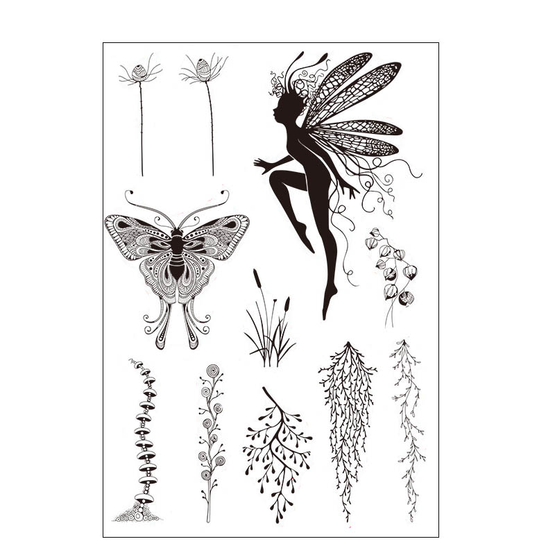 Fairy Butterfly Plants Transparent Clear Stamp For DIY Scrapbooking/Card Making/Kids Christmas Fun Decoration Supplies