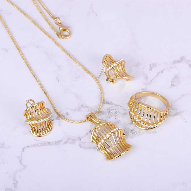 Blucome Kristall Strass Platz Schmuck Sets Gold Farbe Feine Hochzeit Schmuck Elegante Klassische Emaille Halskette Ohrring Ring Set