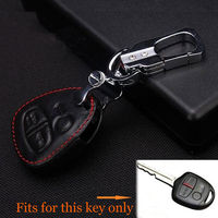 Leather Red Thread 3 Bottons Car Remote Key Fob Holder Chain Cover Case For Lancer Outlander Colt Mirage EVO car styling