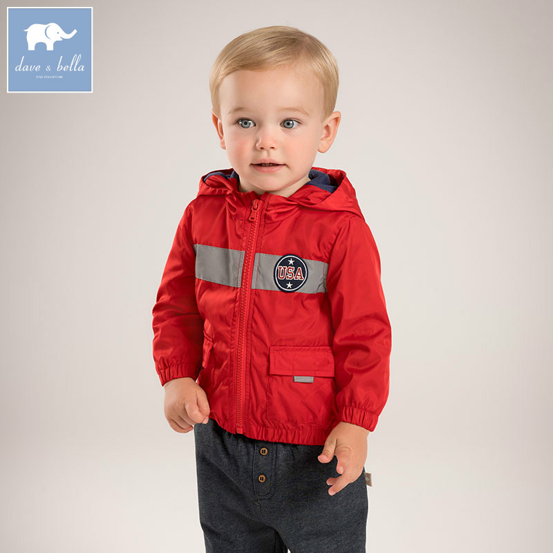 DB5387 dave bella autumn infant baby boys fashion coat kids toddler Hooded children hight quality clothes db2588 dave bella autumn unisex infant baby girls boys fashion t shirt kids cotton lovely tops children high quality tee