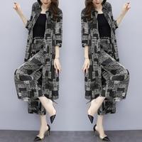 Floral Print Big Size Two Piece Set Chiffon Cardigan Wide Leg Pants Women's Suit Elegant Fashion Ensemble Femme Deux Pieces